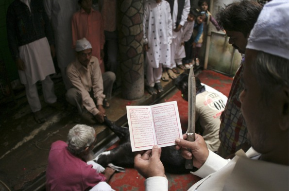 Muslims offer prayers before sacrificing a goat on Eid al-Adha in Allahabad, India, Tuesday, Dec. 9, 2008. (AP Photo/Rajesh Kumar Singh)