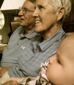 pawpaw, nana, & abbey smile for the camera
